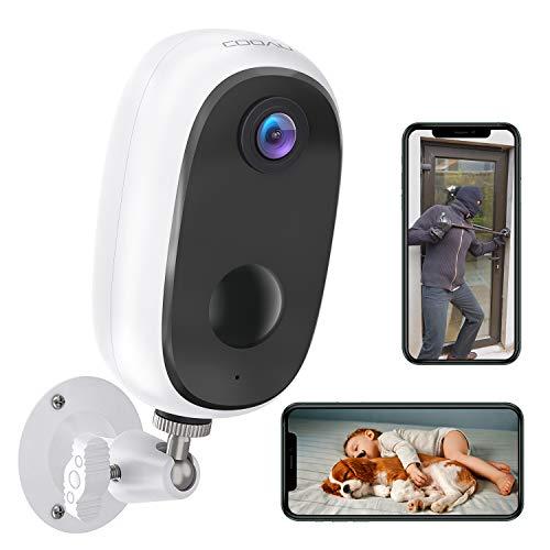 COOAU Telecamera WiFi Interno/Esterno Wireless ricaricabile Alimentata a batteria Telecamere domestiche da 10000 mAh, Telecamera di sorveglianza per interni WiFi 1080P con visione notturna