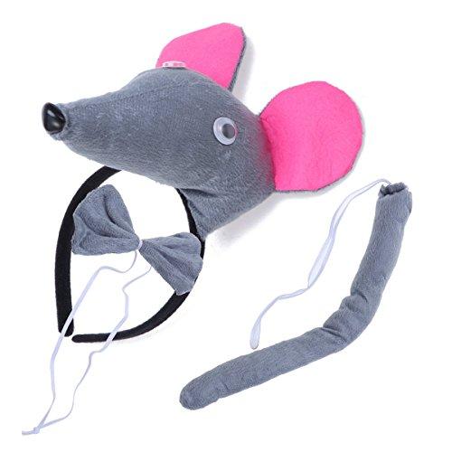 BESTOYARD Disfraz de Raton para Niños Diadema Animal Conjunto de Orejas Animal Cola y Pajarita Traje de Costume para Halloween Fiesta 3 Piezas Raton