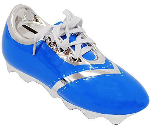 alles-meine.de GmbH 3-D Effekt _ Spardose -  Fußballschuh / Sportschuh - Schuh - blau  - mit echten Schnürsenkel ! - stabile Sparbüchse aus Porzellan / Keramik - Fußball - Spar..