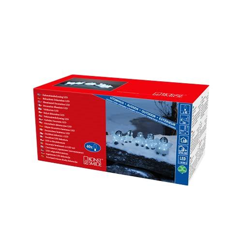Konstsmide, 6266-203, LED Acryl Babypinguine, 5er-Set, 40 kalt weiße Dioden, 24V_Außentrafo, weißes Kabel