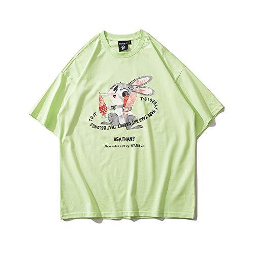 DREAMING-Una Sudadera de Verano de Manga Corta con una Camiseta de algodón de Cuello Redondo Estampada Suelta para Hombres y Mujeres L