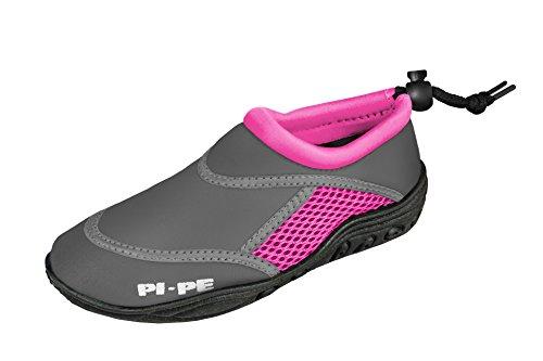 PI-PE Active Badeschuhe Aqua Shoes Damen Herren Schwimmschuhe Strandschuhe (Grey/Pink, 38)