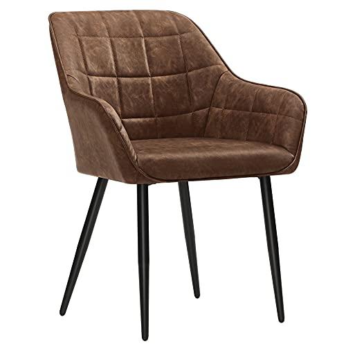 SONGMICS Esszimmerstuhl, Sessel, Polsterstuhl mit Armlehnen, PU-Bezug, Vintage, bis 110 kg belastbar, für Esszimmer, Wohnzimmer, Schlafzimmer, Dunkelbraun LDC089K01