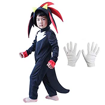 Kids Shadow The Hedgehog Jumpsuit Rompers with Headpiece Gloves Overall Cosplay Outfits Costume Props  M