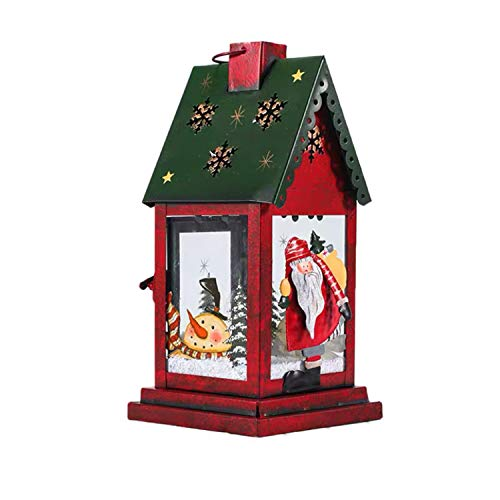 Christmas Candle Lantern Decoration Metal Vintage Style Hanging Lanterns Table Candleholders Lantern Holder Xmas Home Decor, Green Roof Red House