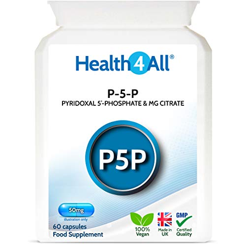 P-5-P Pyridoxal 5'-Phosphate 50mg 60 Capsules (V) Biologically Active Vitamin B6 with Magnesium Citrate for PMS and Reduction of Tiredness & Fatigue. Made by Health4All