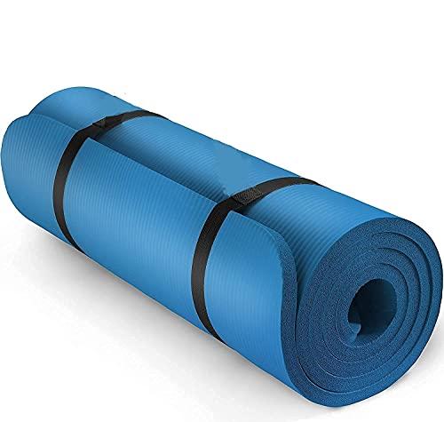 Jimmkey Tappetino Yoga Antiscivolo Tappettino Gym Tappeto Palestra Pilates, Adatto per Fitness, Dimagrimento, Aerobica, Sport all'Aria Aperta, 183x60x0,4 cm (Blu)