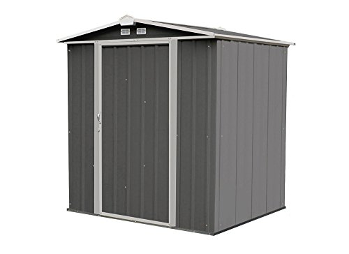 Arrow 6' x 5' EZEE Galvanized Steel Low Gable Shed Charcoal with Cream, Storage Shed with Peak Style Roof