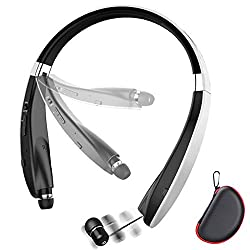 commercial Folding Bluetooth Headset, Lightweight Retractable Bluetooth Headphones Beartwo for… verizon headsets bluetooth