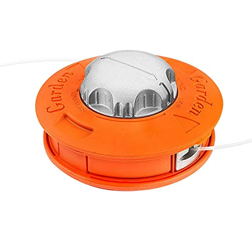 Cabezal Desbrozadora Universal, Cabeza de cortadora de línea de alimentación cóncavo-convexa de tornado de aluminio universal adecuado para agricultura de jardín y patio M10x1.25LH naranja