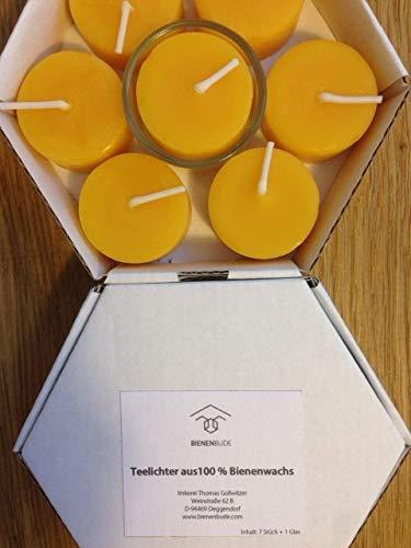 Geschenkset: 7 Teelichter + 1 Glas in Geschenkpackung, Präsentpackung, aus 100% Bienenwachs, handgemacht, direkt vom Imker aus Deutschland, Bayern, von der Bienenbude, von der Bienenbude.
