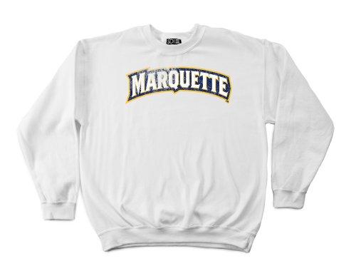 Marquette Golden Eagles 50/50 Blended 8-Ounce Vintage Arch Crewneck Sweatshirt, Medium, White