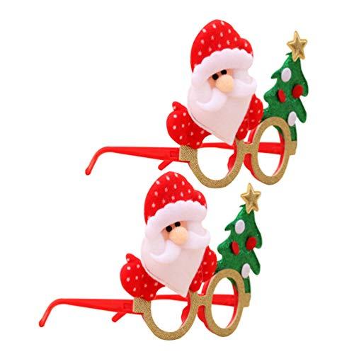 Amosfun 2 Stück Weihnachten Brillengestell lustige Partei begünstigt Kinder Erwachsene Spielzeug Weihnachtsmann dekorative niedliche kreative Cartoon Party Geschenk Brillengestell Foto Requisiten