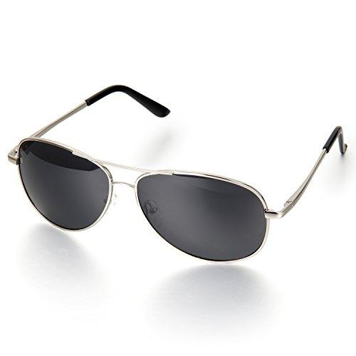Aroncent Herren Klassiker Retro Strahlenschutz Polarisierte Sonnenbrille, Metalllegierung Vollrand Sonnenbrille, Silber