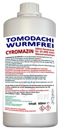 Tomodachi Wurmfrei Anti Wurmmittel, wurmfrei, karpfenlausfrei mit Cyromazin – gegen Würmer, Karpfenläuse, Fischegel im Koiteich 500ml Cyromazin Konzentrat für 25.000L Teichwasser