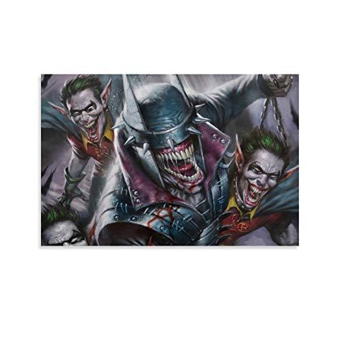 SSKJTC Stillleben-Wandkunst für Zuhause, Batman-Poster, Who Laughs Joker-Zitate, Wandkunst, Dekoration, 30 x 45 cm