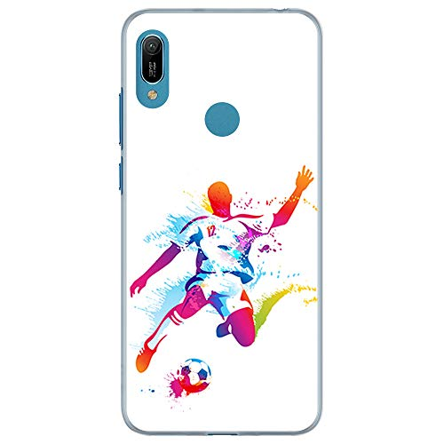 BJJ SHOP Custodia Trasparente per [ Huawei Y6s / Huawei Y6 2019 / Huawei Honor 8A ], Cover in Silicone Flessibile TPU, Design: Giocatore di Calcio Astratta, Esplosione di Vernice
