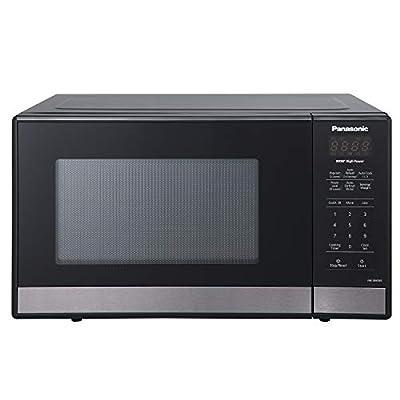 Panasonic NN-SB438S Compact Microwave Oven, 0.9 cft, Black Stainless Steel