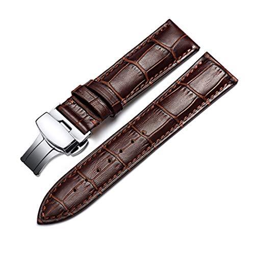 Correa De Reloj Cuero del Becerro Correa De Repuesto Pulsador Mariposa Deployant Clasp Ajuste para Tradicional Deportivo Reloj Inteligente 22mm Marrón