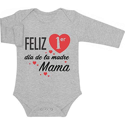 Body de Manga Larga para bebé - Regalo Feliz Primer Mamá día de la Madre 0-3 Meses Gris