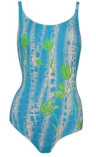 eleMar Damen Badeanzug Schwimmanzug Einteiler Bademode tiefer Rücken blau (38)