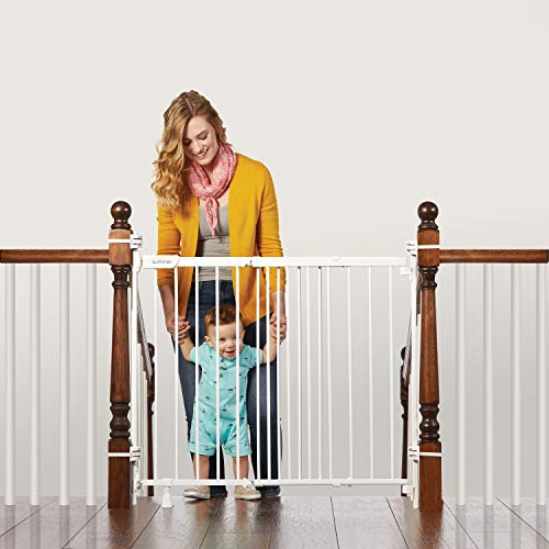Summer Infant 27903Z Banister & Stair Safety Gate with Extra Wide Door, Metal, 31' - 46', White, 31-46'