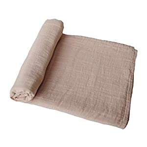 mushie Muslin Baby Swaddle Blanket | 100% Organic Cotton (Pale Taupe)