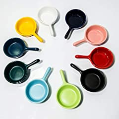 🍟Small Bowls Soy Sauce Dish: 10 pcs colors condiment server perfect for sauce, salt, vinegar, sugar, salad, flavor, spices and snack etc 🍟Convenient to Use: The small bowls for side dishes with handle, made of AB grade porcelain, strong, lustrous and...