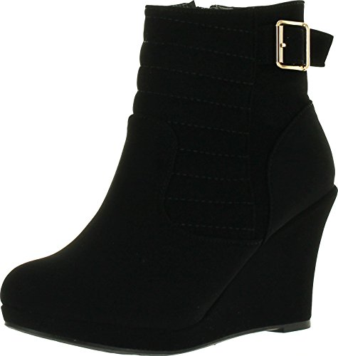 TOP Moda Cotton 16 Damen Stiefeletten mit Schnalle, Keilabsatz, Schwarz, Schwarz (schwarz), 39 EU
