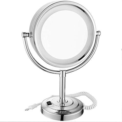 IREANJ Espejo de Maquillaje de Pared Espejo de Maquillaje Escritorio LED de 8,5 Pulgadas Espejo con Belleza con luz Espejo de Doble Cara 5 aumentos con luz Espejo de Maquillaje (Color: Plata, tamaño: