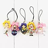 JINGMAI 5 Unids / Lote Sailor Moon Tsukino Tuxedo Mask Mercury Mars Júpiter Venus PVC Figura Juguete Llavero Colgante