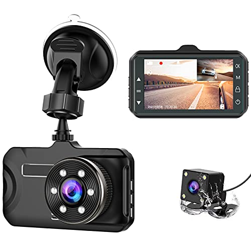 CHORTAU Dashcam Auto Vorne Hinten Full HD 1080P, AutoKamera 170° Weitwinkel 3,0 Zoll, Dual Dashcam mit WDR Nachtsicht, Loop-Aufnahme, G-Sensor, Bewegungserkennung, Parküberwachung