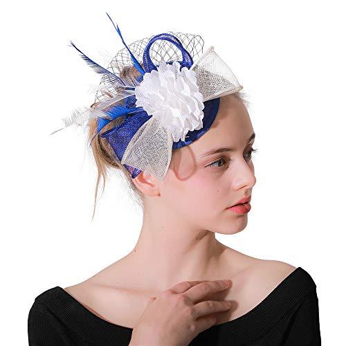 Heqianqian Chapeau Fascinant Femmes Fille Pince À Cheveux Épingle À Cheveux Chapeau Plume Cocktail De Mariage Chapeau De Fête De Thé Et Bandeau pour Les Femmes Pince à Cheveux de Mariée