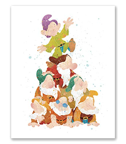 PGbureau Seven Dwarfs Poster - Watercolor Inspired Art - Nursery Wall Decor - Party Decor - Party Supplies (8x10)