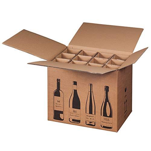 KK Verpackungen® Flaschenversandkarton | 5 Stück, Weinkarton für 12 Weinflaschen | Von DHL & UPS PTZ-zertifizierter Weinversandkarton