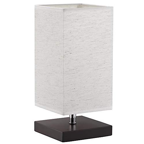 Bakaji Lampada da Tavolo Luce Lampadina E27 Max 25W Base Quadrata in Legno Paralume in Tessuto Lume Comodino Camera da Letto Abatjour Design Moderno Dimensioni: 32 x 14 cm