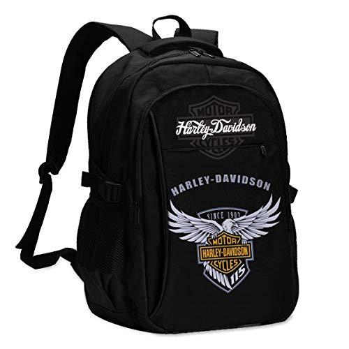 Mochila para computadora portátil Harley Davidson, Mochila antirrobo Informal y Mochila para computadora portátil Duradera con Puerto de Carga USB, Mochila Escolar Impermeable para Hombres y Mujeres