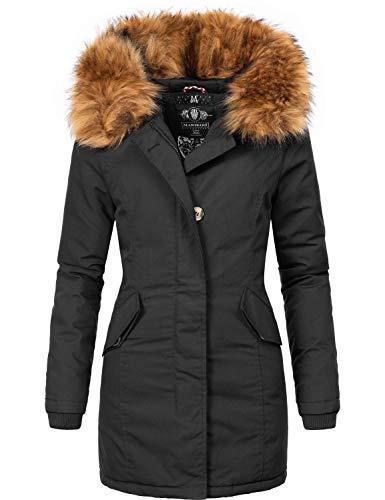 Marikoo Damen Winter Mantel Winterparka Karmaa-Prc Schwarz Gr. XXL