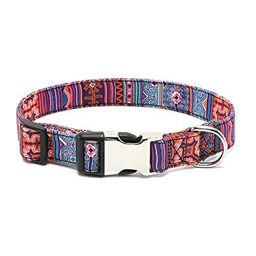 Collar de Perro con Hebilla de Metal, Collar de Perro con Estampado de Nailon Ajustable Personalizado, Correa para Cachorros, pequeños, medianos, Grandes Collares para Mascotas