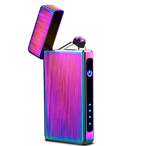 Lighter,Windproof Arc Lighter USB Rechargeable Electric Candle Lighters Flameless Plasma Lighter with LED Battery Indicator
