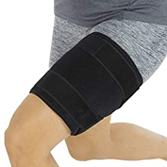 EFFECTIVE THIGH SUPPORT: Providing targeted compression therapy, the thigh brace supports the hamstring and quadricep while aiding in the recovery of strains and pulls. Secured by dual fasteners, the adjustable compression wrap is constructed with a ...