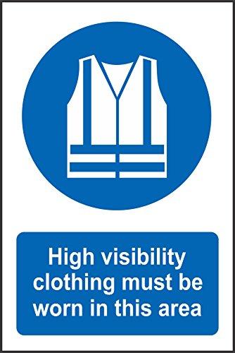 Label - Sécurité - Avertissement - Se debe llevar ropa de alta visibilidad en esta área señal de seguridad 30x20 cm - bureau, entreprise, école, hôtel