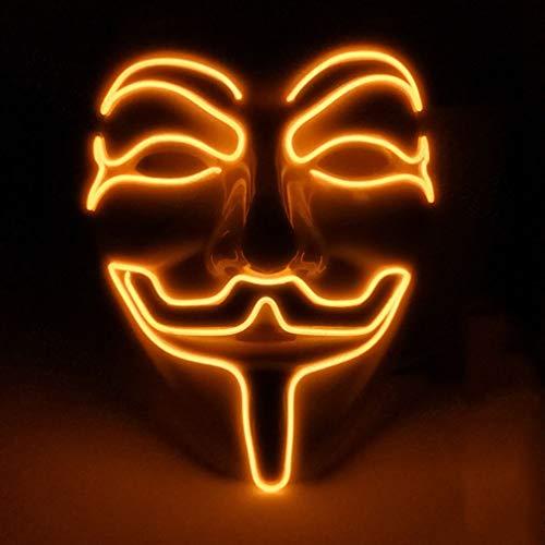 para Halloween Disfraz Cosplay Fiesta LED Máscara V Vendetta Máscara EL Wire Glow