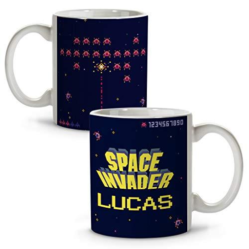 LolaPix Taza Space Invaders. Tazas Personalizadas. Regalo Friki. Tazas Originales con Nombre. Space Invaders