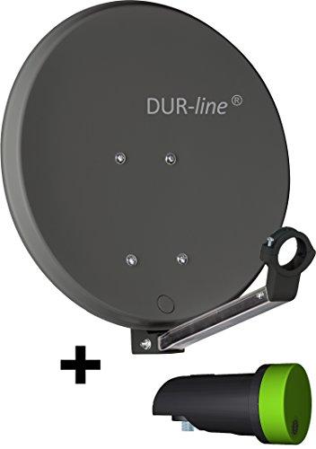 Dur-line DSA, antenna satellitare, 40cm, con riflettore in alluminio duro ad alte prestazioni, antracite, per campeggio, balcone, barca