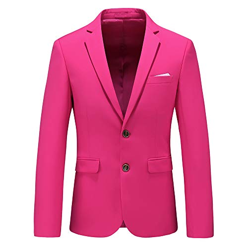 Mens Casual Two Button Suit Jacket Single Breasted Modern Wedding Tux Blazer US Size 42 (Label Size 5XL) Pink