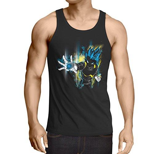CottonCloud Power of Vegeta Débardeur Homme Tank Top God Z Goku Roshi Ball, Taille:M, Couleur:Noir