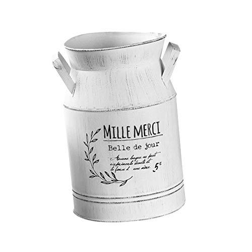 Cabilock Macetero vintage de metal, con asa, para balcón, casa, boda, fiesta, bautizo, decoración de mesa, jardín, color blanco, tamaño S