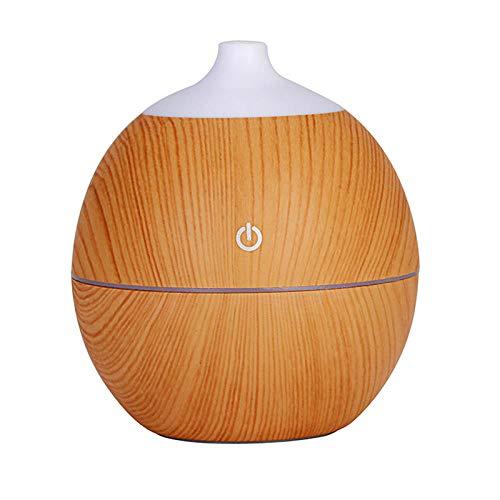 Difusor de aceite esencial de fragancia de 130 ml humidificador de madera ultrasónico USB con grano de madera 7 luces LED que cambian de color-madera clara