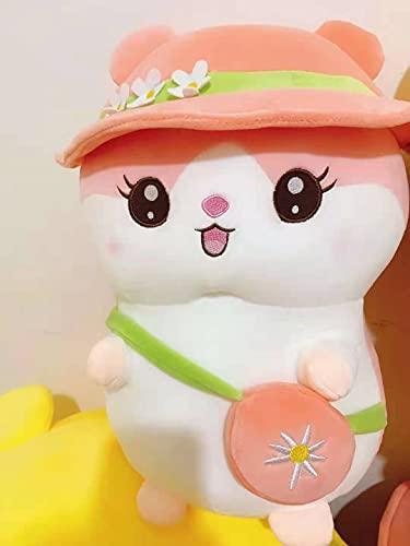 LNNXY Hámster de Peluche de Juguete muñeca Mochila Sombrero Ardilla Almohada para Dormir Regalo 80 cm Rosa